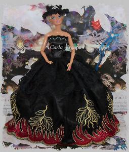 Feerique-Robe-De-Bal-Princesse-Poupee-Barbie-Mannequin-Couture-Paris-Chic-Noir
