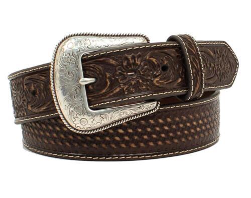 Nocona Western Belt Mens Leather Embossed Weave Floral Brown N2413502
