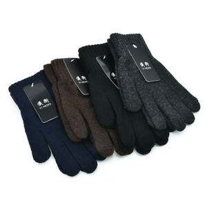Men Woolen Thermal Mittens Gloves Winter Thick Warm Knitting Full Finger Gloves