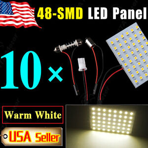 10PCS-Festoon-T10-BA9S-Warm-White-LED-48-SMD-Panel-Interior-Dome-Map-Light-Bulbs