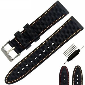 24mm-Silicone-Rubber-Sport-Watchband-Red-Orange-Stitch-Waterproof-Watch-Strap