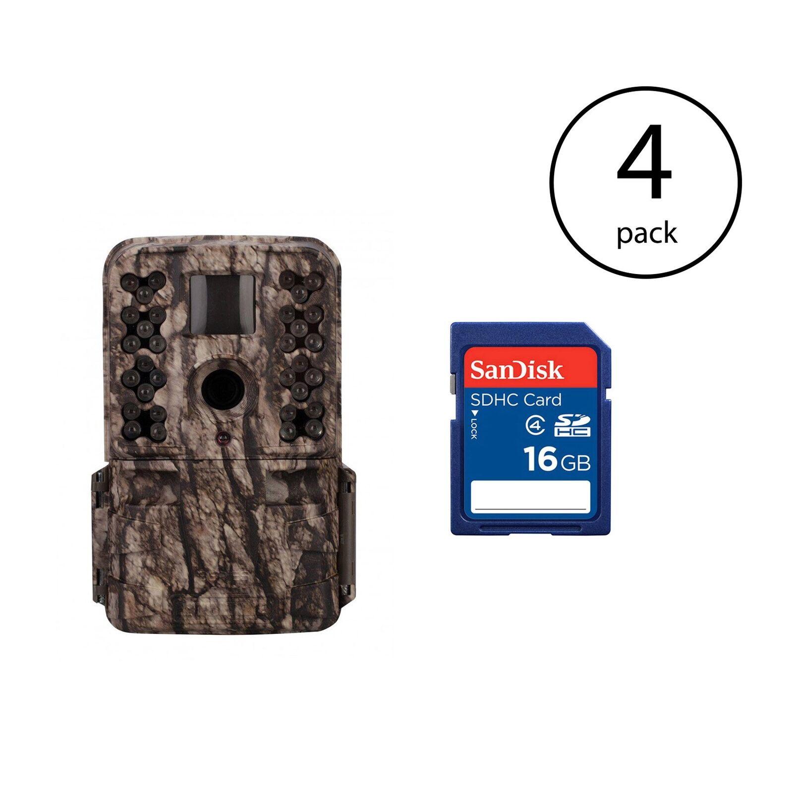 Moultrie M-50 20MP Juego De Infrarrojos Cámara Trail (4 Pack) + Tarjeta SD de 16GB (4 Pack)