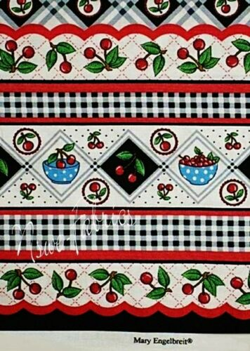 """60/"""" Wide Double BORDER BTY Mary Engelbreit Fabric Bowl of Cherries Plaid"""