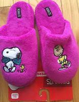 Snoopy Peanuts Womens Ladies Fuchsia Pink Slippers Soft Fuzzy Scuffs L 8-9