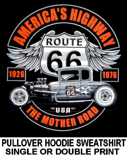 ROUTE 66 HOT RAT STREET ROD COUPE FLAMES MOTHER ROAD USA HOODIE SWEATSHIRT 566