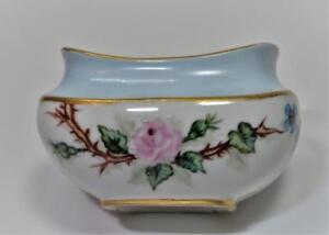 Antique-T-amp-V-LIMOGES-Bone-China-France-Hand-Painted-Pink-ROSE-Open-Sugar-Bowl