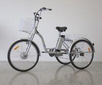 Trike Bike Adult Tricycle 26 Aluminium 3 Wheeled - 7 Gears & Baskets - Electric