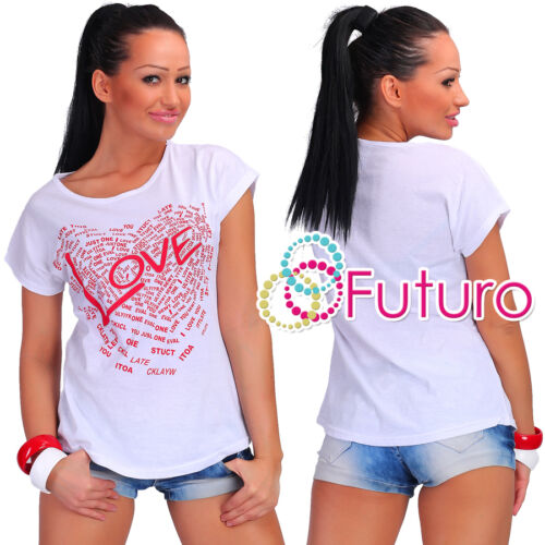 Casual T-Shirt Love Print 100/% Cotton Crew Neck Top Party Tunic Sizes 8-14 FB195