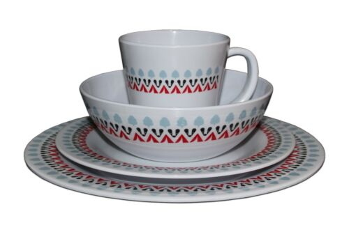 CAMPING TABLEWARE 4 PERSON MELAMINE SET (16 PIECE) - WITLEY DESIGN