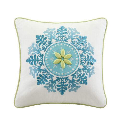 BEAUTIFUL 7PC MODERN TEAL AQUA BLUE WHITE GREEN GREY COMFORTER SET /& PILLOWS NEW