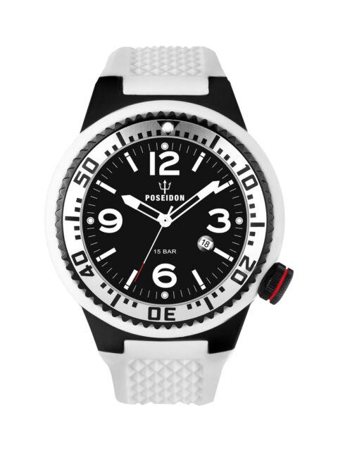 POSEIDON Herren-Armbanduhr XL Black Pro Analog Silikon UP00256 Weiß UVP 139,- €
