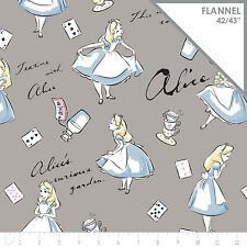Disney Alice in Wonderland Grey 100% cotton flannel fabric by the yard