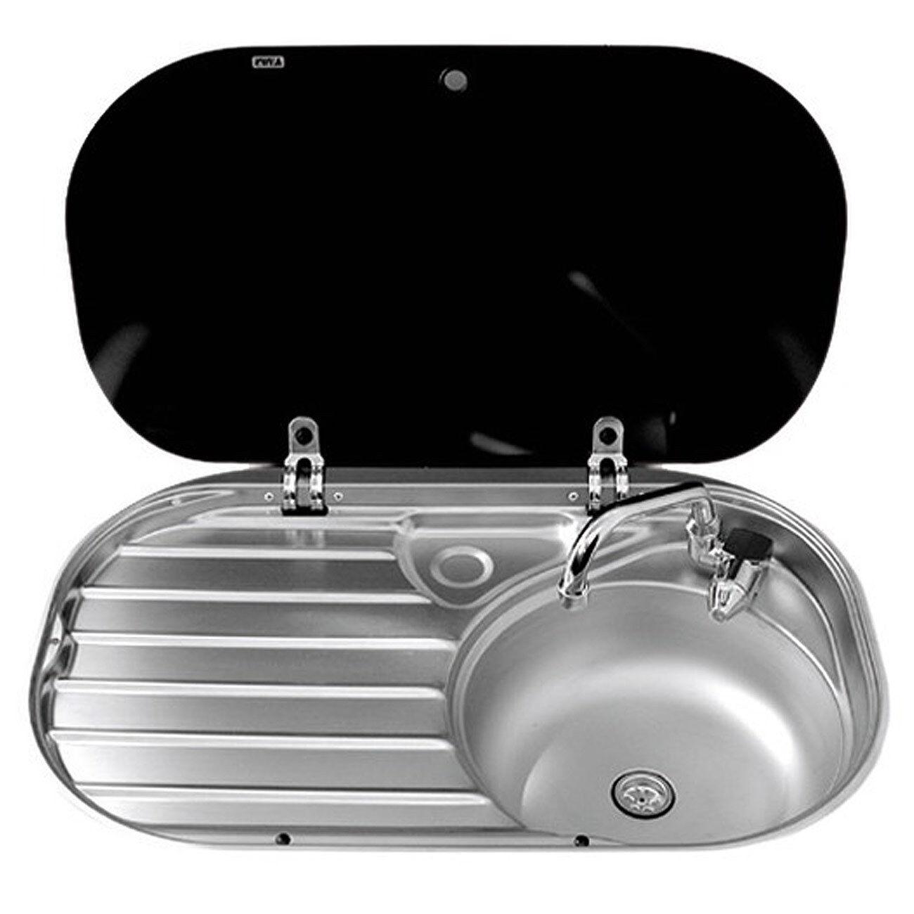 Osculati Messing Spüle mit mit mit Abtropffläche und Klapphahn 68x44cm Caravan Pantry 3cc0dc