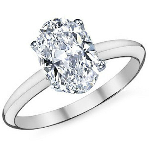 2.26CTW Women's 14k WG Oval Cut Moissanite 4 Prong Solitaire Engagement Ring