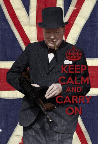 I10105a Churchill Thompson Tommy gun Keep Calm and Carry On color photo
