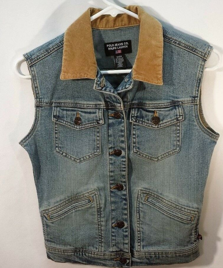 Ralph Ralph Ralph Lauren Polo Jeans Co.Denim Flag Vest Cord Collar Women's Size Small EUC 62d537