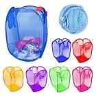 Foldable Pop Up Laundry Basket Hamper Washing Clothes Bag Bin Mesh Storage Bag