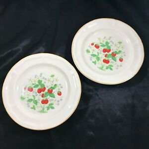 Pair-of-Brick-Oven-Strawberry-Antique-Array-7-3-4-Salad-Plates