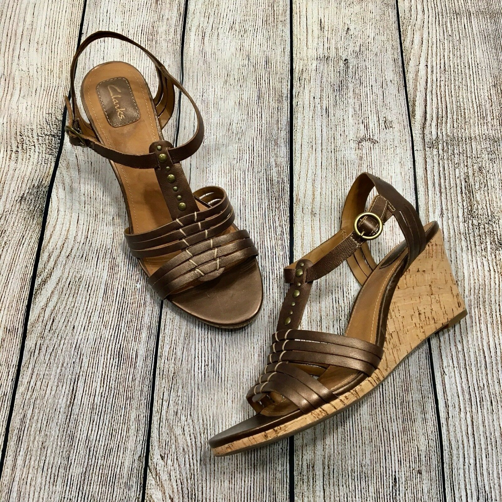 Clarks Strappy Bronze Sandal Wedges Bronze Studs Size 9.5M