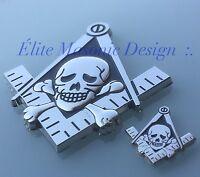 Masonic Master Mason Cut Out Car Emblem Silver/black