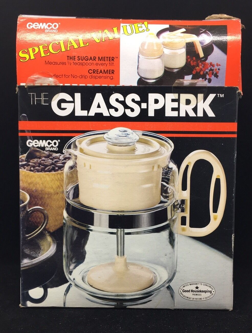 NEW Gemco The Glass Perk Coffee Pot Percolator w  creamer sugar Brown 4-8 Cups