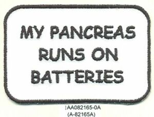 "2"" x 3"" Type 1 Diabetes Diabetic My Pancreas Runs on Batteries Fundraising Patch"