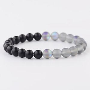 Women-Men-8MM-Gray-MoonStone-amp-Black-Onyx-Stone-Beads-Bracelets-Elastic-Bangle