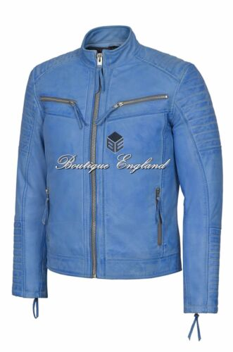 Jacket Crust Leather Men's Blue Quilted wTHgfqfp