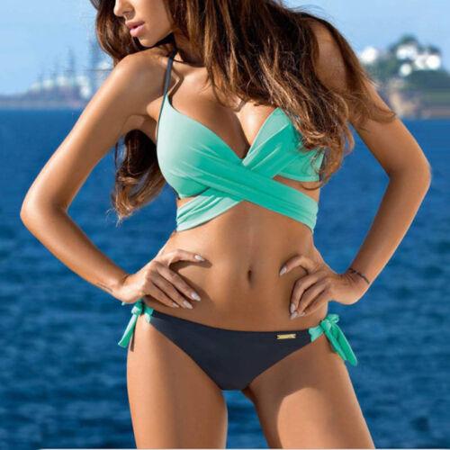 Damen Bademode Push Up Badeanzug Triangel Beachwear Bandage Cross Bikini Set HS