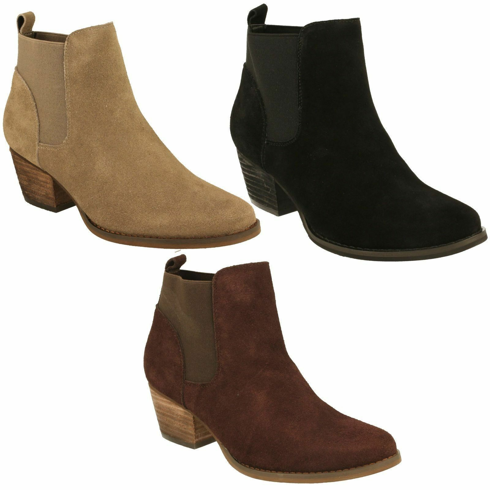 LADIES DOWN TO TO DOWN EARTH BLOCK HEEL LEATHER BLACK BROWN TAUPE ANKLE Stiefel F50678 0c5ef2