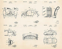 Vw Volkswagen Beetle Bug Wall Art Patent Print Poster Drawing Gifts For Him Her