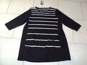 BNWT-MARKS-amp-SPENCER-M-amp-S-LONG-SLEEVE-BLACK-STRIPE-CASUAL-TOP-SIZE-20