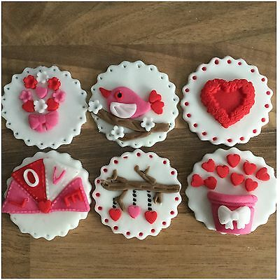 6 Valentines Day Edible Sugar Cake Decorations Toppers Hearts Doves Flowers