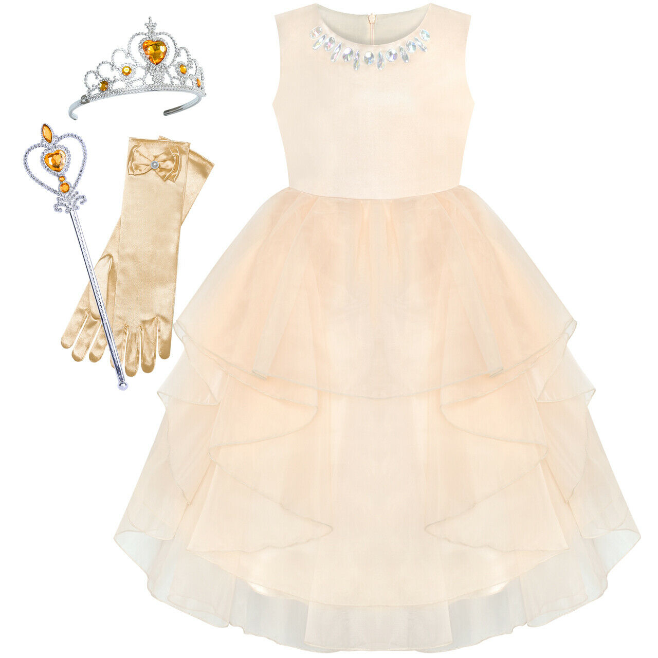 Flower Girls Dress Half Sleeve Lace Wedding Party Pageant Size 5-12 Formal