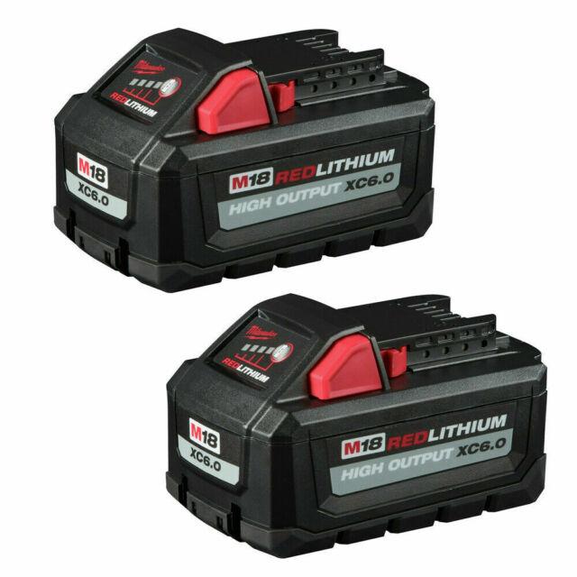 Milwaukee M18 18-Volt Lithium-Ion High Output 6.0Ah Battery 48-11-1862 (2-Pack)