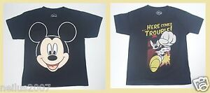 Disney-Mickey-Mouse-Black-Cotton-Short-Sleeve-T-Shirt-XS-Here-Trouble-Age-4-5