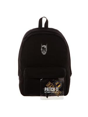 OFFICIAL DC COMICS - BATMAN MASK - PATCH & PIN IT YOURSELF GREY BACKPACK BAG