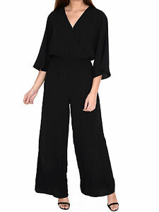48e03beda8f Womens Black Kimono Jumpsuit Wide Leg Loose Fit Wrap Front Sleeve ...