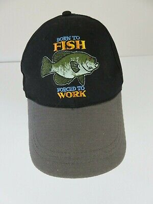 Born to Fish Forced to work fishing black hat and camel brim,adjustable