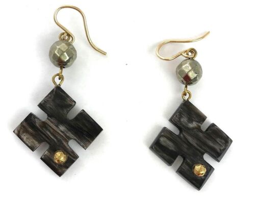 "Ashley Pittman /""vidéo/"" Dark Horn Clover Pendants d/'oreilles Labradorite Perles msrp$ 385"