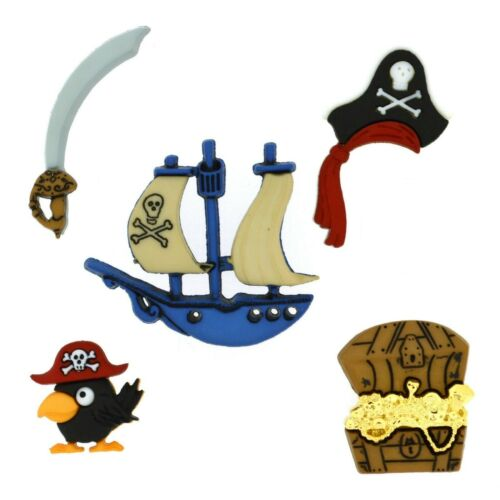 Dress It Up Buttons *PIRATES* 6 Pieces Ship Treasure Parrot Sword Crafts