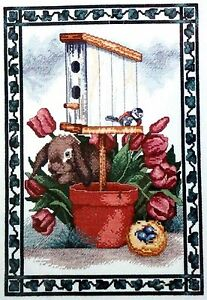 Garden Hideaway cross stitch kit bunny rabbit tulips bird nest house Spring NEW