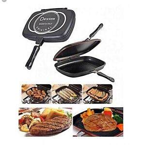 Details About Dessini Double Grill Pan Double Sided Frying Pan Flipping Griddle Diecast 32cm