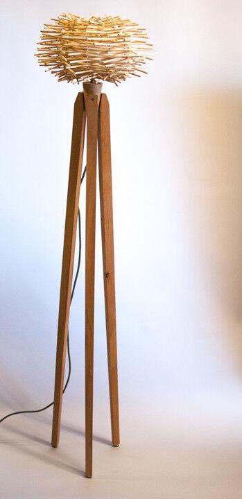 Tripod Steh Lampe Dreibein Buche Design 60iger 70iger Vogelnest Rattan