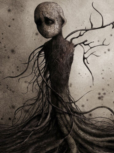 Framed Print Picture Poster Gothic Weird Human Figure Wrapped in Tree Roots