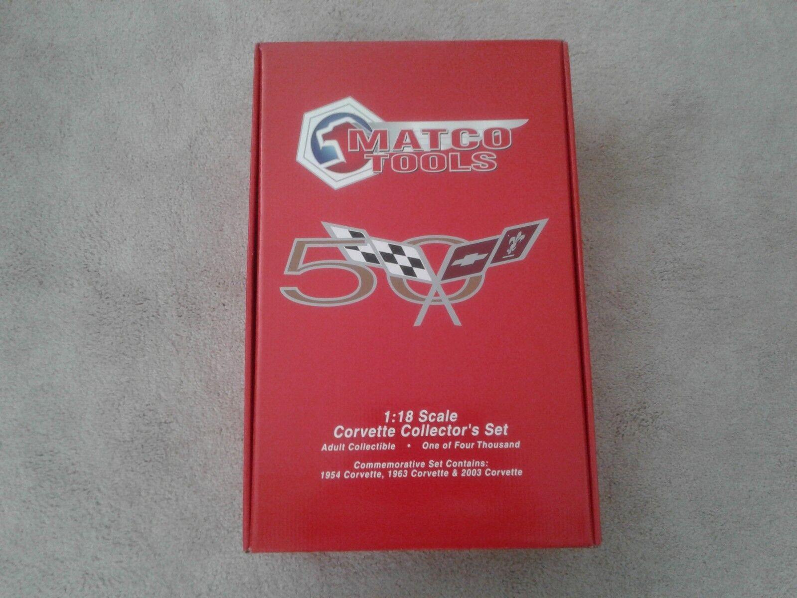 MATCO TOOLS CORVETTE Set 1954, 1963, & 2003 Racing Champions échelle 1 18