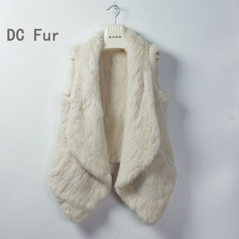 mode femmes natural real rabbit fur vest thick fur winter waistcoat vestes