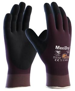 12 x MaxiDry 56-427 Fully Coated Nitrile Foam Lightweight Safety Working Gloves
