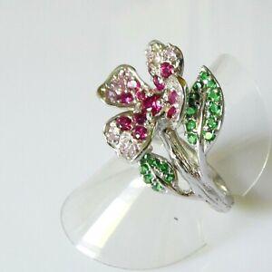 Handarbeit Pink Rubin Saphir Tsavorit Blumen Ring 925 Silber Rhodium 18,6mm 58,5