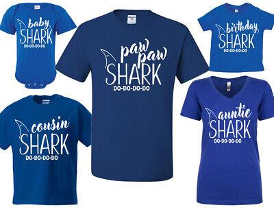 NEW!Papa Mama Baby SHARK Sister Bother Nana Family Matching T-shirts Newborn-5XL